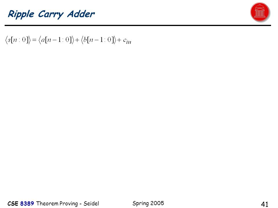 CSE 8389 Theorem Proving - Seidel Spring 2005 41 Ripple Carry Adder