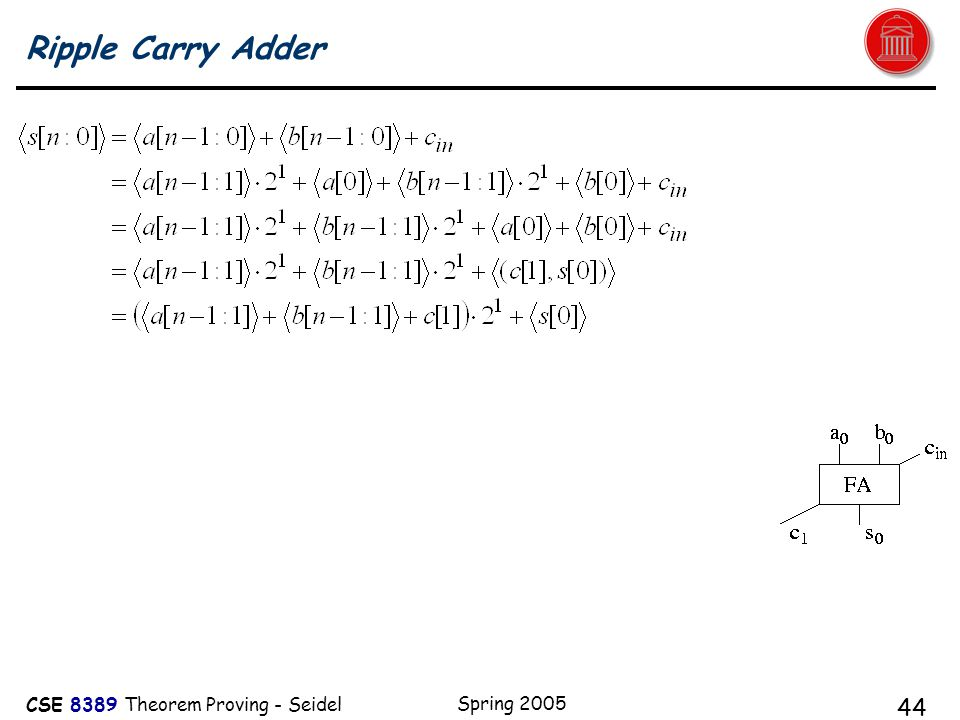 CSE 8389 Theorem Proving - Seidel Spring 2005 44 Ripple Carry Adder
