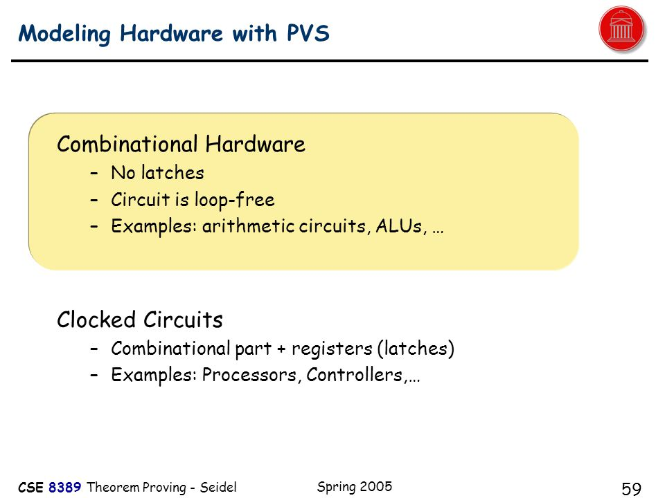 CSE 8389 Theorem Proving - Seidel Spring 2005 59 Modeling Hardware with PVS Combinational Hardware –No latches –Circuit is loop-free –Examples: arithmetic circuits, ALUs, … Clocked Circuits –Combinational part + registers (latches) –Examples: Processors, Controllers,… A