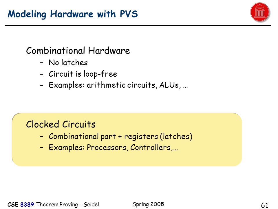 CSE 8389 Theorem Proving - Seidel Spring 2005 61 Modeling Hardware with PVS Combinational Hardware –No latches –Circuit is loop-free –Examples: arithmetic circuits, ALUs, … Clocked Circuits –Combinational part + registers (latches) –Examples: Processors, Controllers,… A