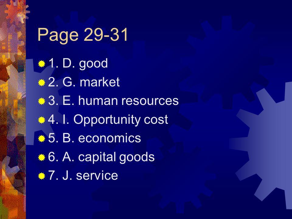 Page 29-31  1.D. good  2. G. market  3. E. human resources  4.