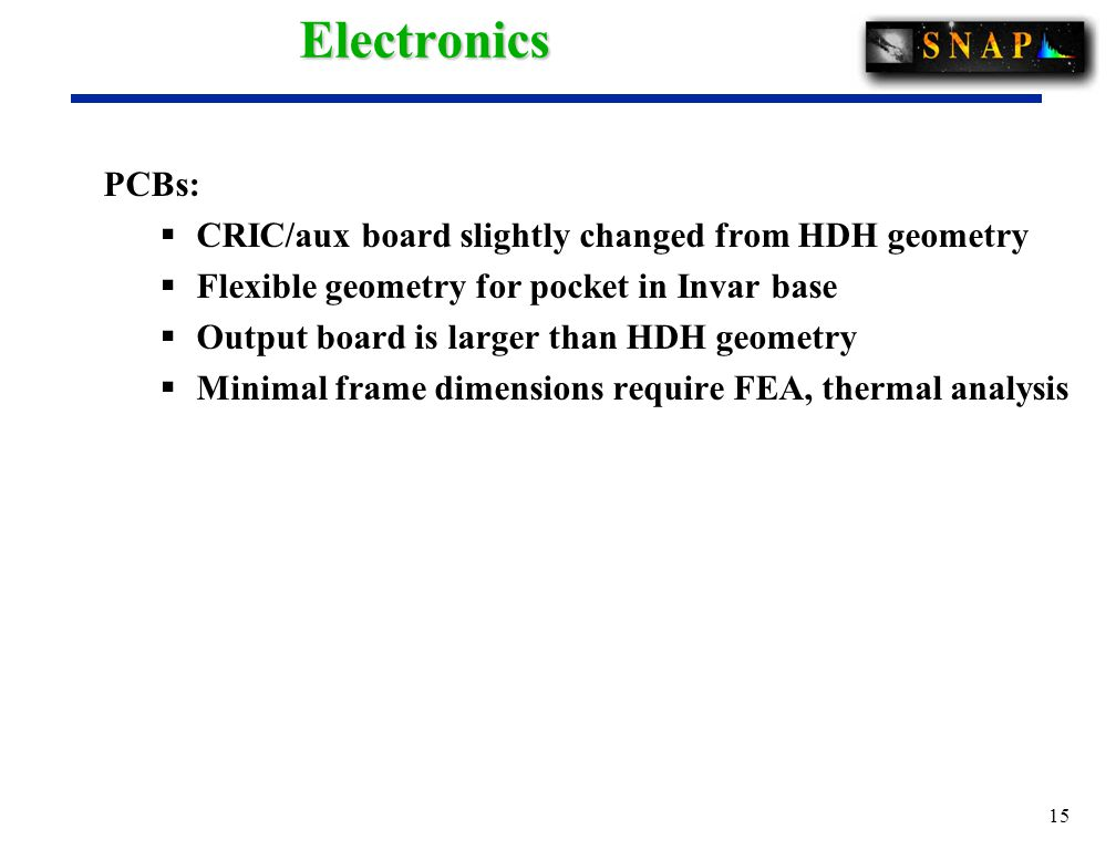 15Electronics PCBs:  CRIC/aux board slightly changed from HDH geometry  Flexible geometry for pocket in Invar base  Output board is larger than HDH geometry  Minimal frame dimensions require FEA, thermal analysis