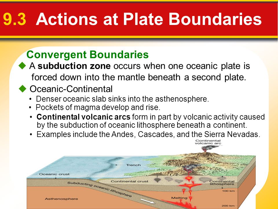 Convergent Boundaries 9.3 Actions at Plate Boundaries  A subduction zone occurs when one oceanic plate is forced down into the mantle beneath a secon