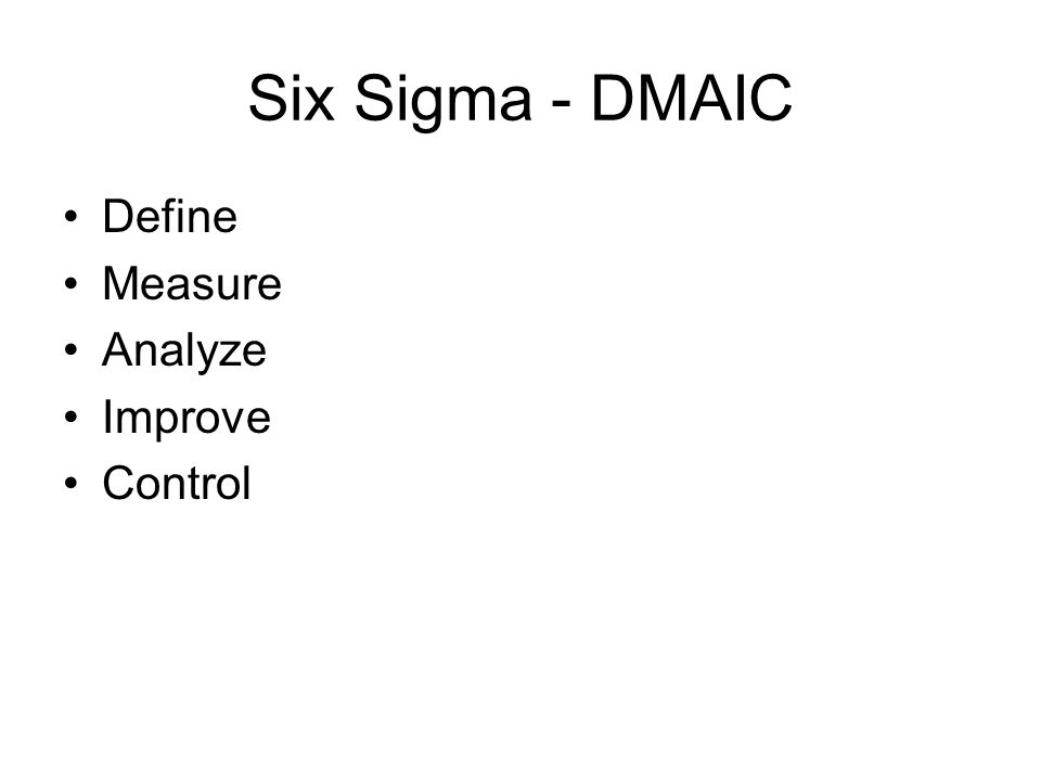 Six Sigma - DMAIC Define Measure Analyze Improve Control