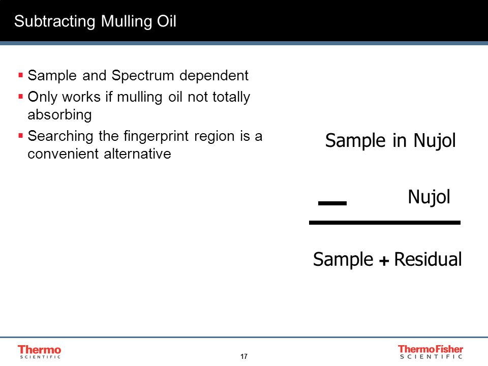 17 Subtracting Mulling Oil  Sample and Spectrum dependent  Only works if mulling oil not totally absorbing  Searching the fingerprint region is a convenient alternative Sample in Nujol Nujol Sample + Residual
