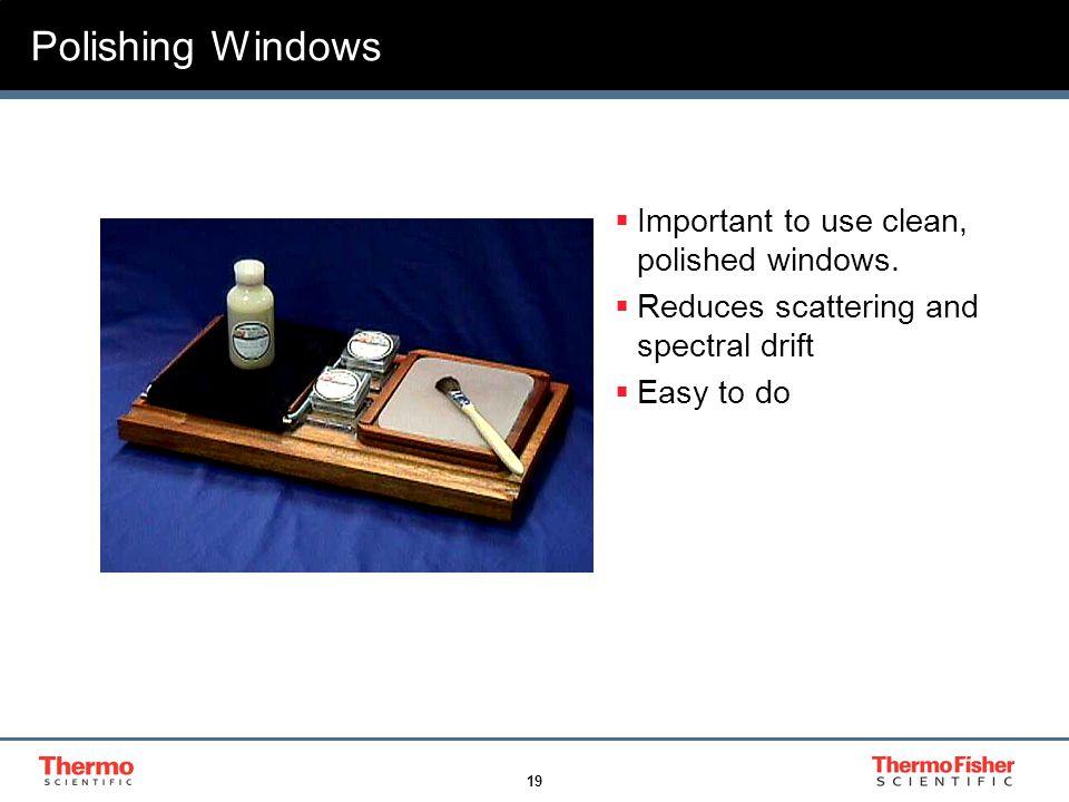 19 Polishing Windows  Important to use clean, polished windows.