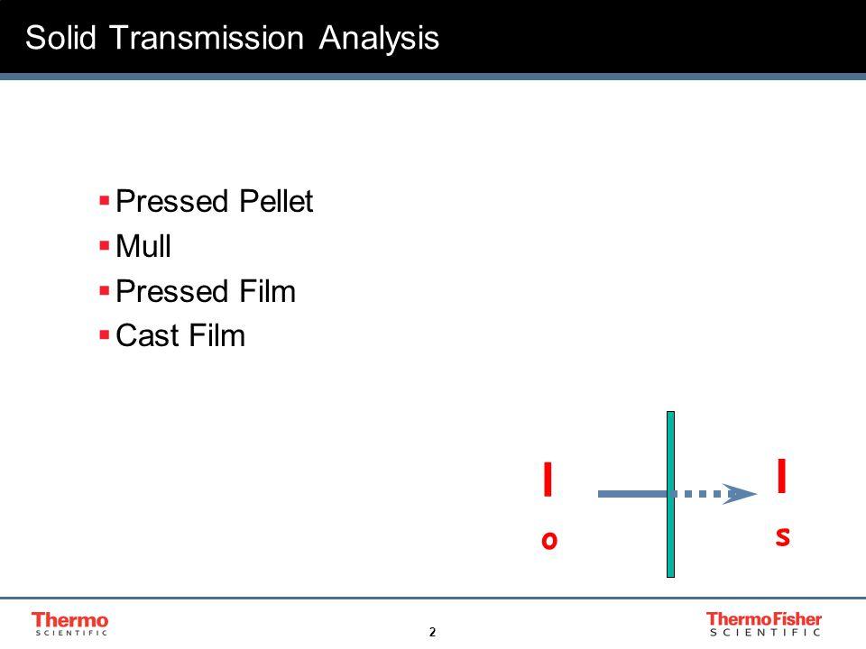 2 Solid Transmission Analysis  Pressed Pellet  Mull  Pressed Film  Cast Film IoIo IsIs