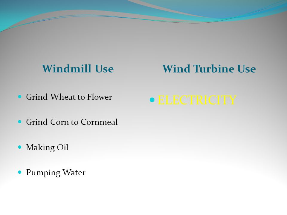Windmill Use Wind Turbine Use Grind Wheat to Flower Grind Corn to Cornmeal Making Oil Pumping Water ELECTRICITY