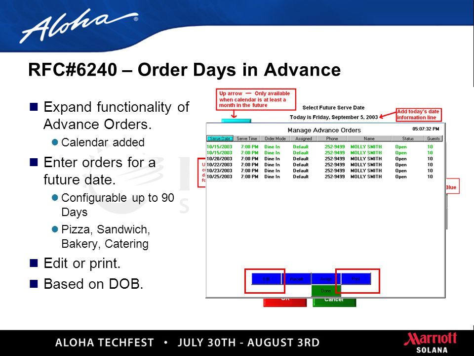29 RFC#34203 – Release Advanced Orders n One touch button n Previous functionality l Change Serve Time l Change Prep Time
