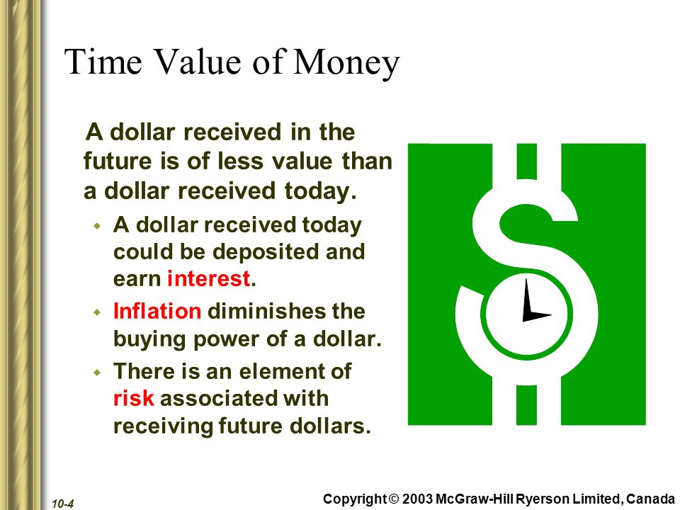 Copyright © 2003 McGraw-Hill Ryerson Limited, Canada 10-45 Techniques That Ignore Time Value of Money Other methods of making capital budgeting decisions include...
