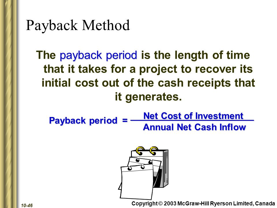 Copyright © 2003 McGraw-Hill Ryerson Limited, Canada 10-46 Payback Method payback period The payback period is the length of time that it takes for a project to recover its initial cost out of the cash receipts that it generates.