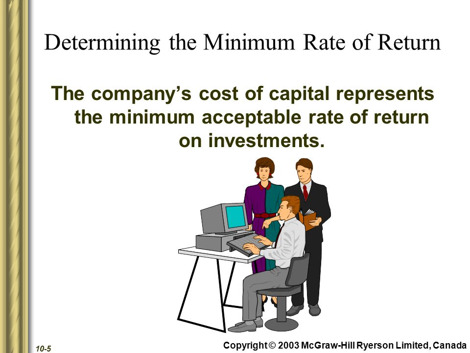 Copyright © 2003 McGraw-Hill Ryerson Limited, Canada 10-16 Internal Rate of Return The rate that equates the present value of the cash inflows and outflows.