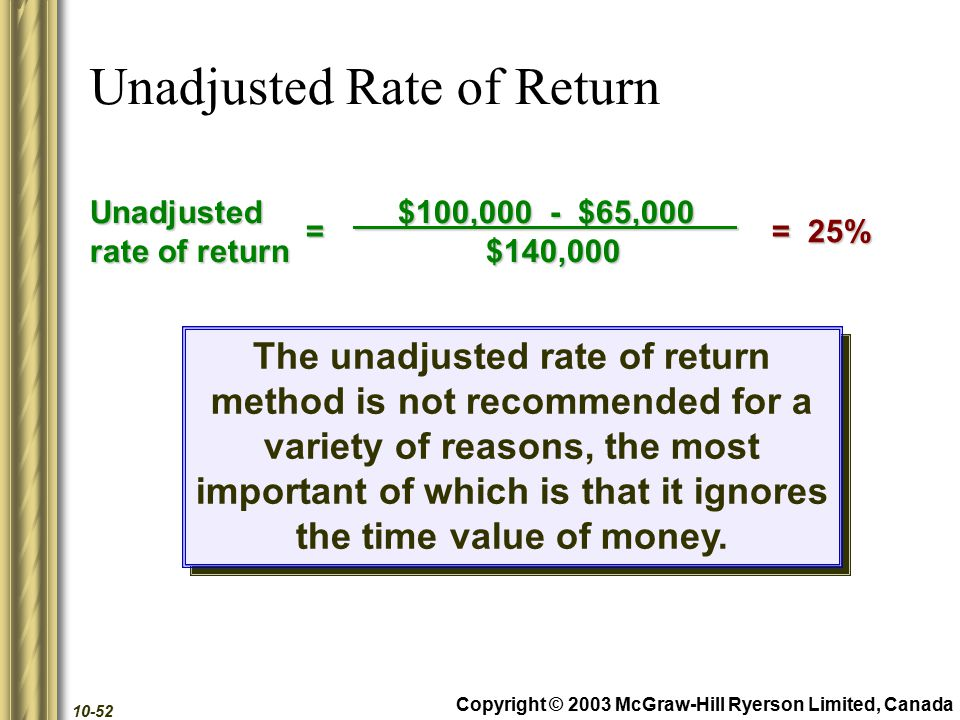 Copyright © 2003 McGraw-Hill Ryerson Limited, Canada 10-52 Unadjusted Rate of Return Unadjusted rate of return $100,000 - $65,000 $100,000 - $65,000 $140,000 $140,000 = 25% = 25%= The unadjusted rate of return method is not recommended for a variety of reasons, the most important of which is that it ignores the time value of money.