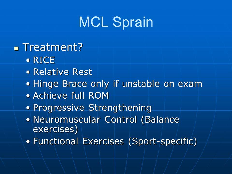 MCL Sprain Treatment? Treatment? RICERICE Relative RestRelative Rest Hinge Brace only if unstable on examHinge Brace only if unstable on exam Achieve