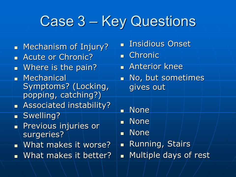 Case 3 – Key Questions Mechanism of Injury.Mechanism of Injury.