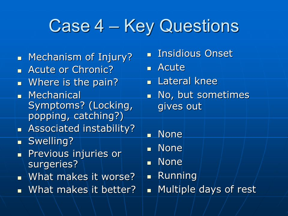 Case 4 – Key Questions Mechanism of Injury.Mechanism of Injury.