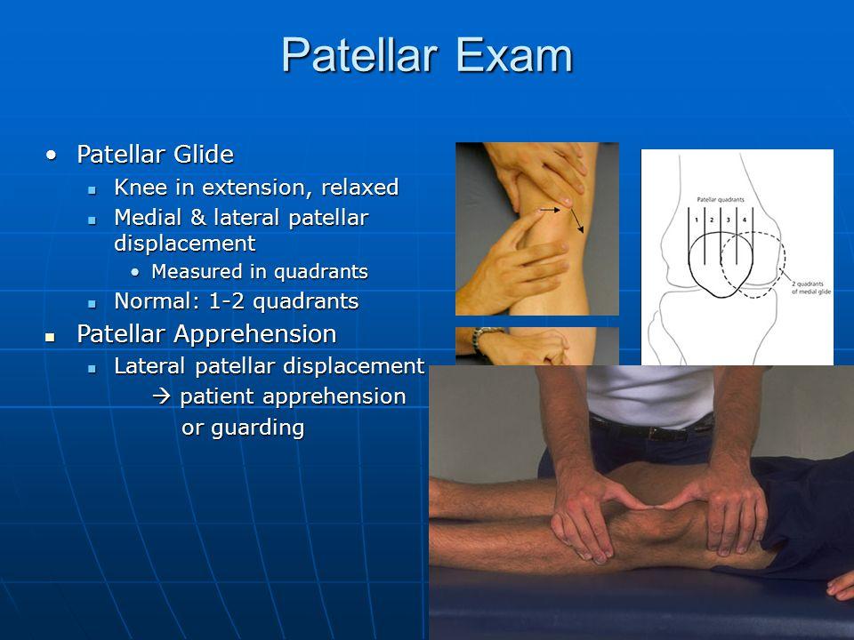 Patellar Exam Patellar GlidePatellar Glide Knee in extension, relaxed Knee in extension, relaxed Medial & lateral patellar displacement Medial & later