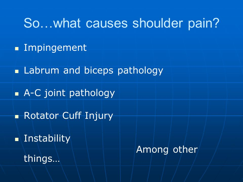 So…what causes shoulder pain.