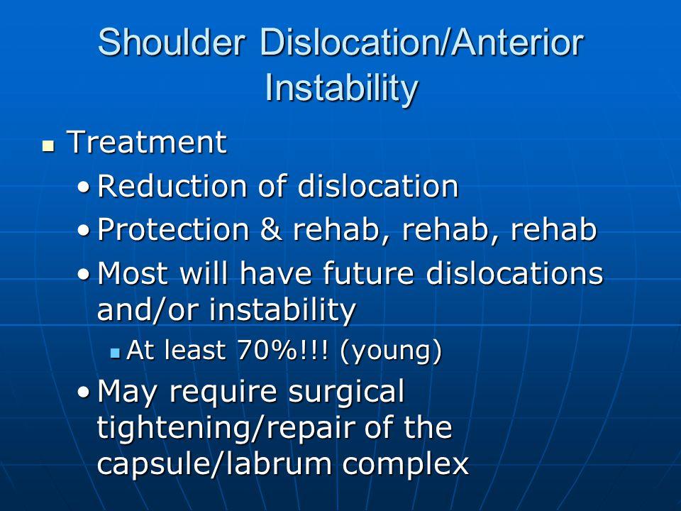 Shoulder Dislocation/Anterior Instability Treatment Treatment Reduction of dislocationReduction of dislocation Protection & rehab, rehab, rehabProtect