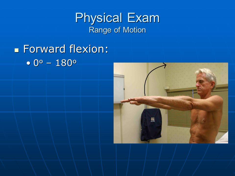 Physical Exam Range of Motion Forward flexion: Forward flexion: 0 o – 180 o0 o – 180 o