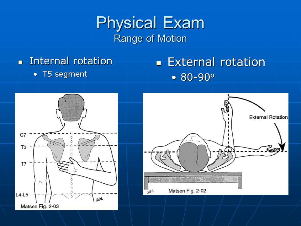 Physical Exam Range of Motion Internal rotation Internal rotation T5 segmentT5 segment External rotation External rotation 80-90 o80-90 o
