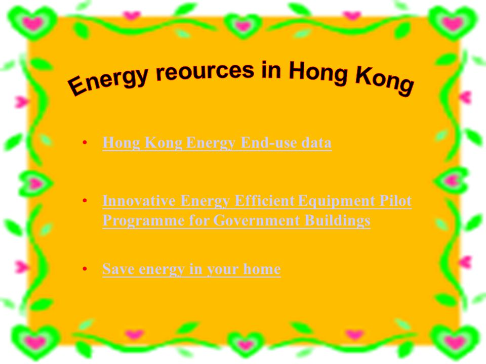 Types of energy resources Solar energy Wind power H.E.P. Geothermal power Tidal power Oil CoalNatural gas Nuclear power Wood
