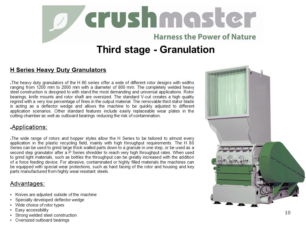 H Series Heavy Duty Granulators ● The heavy duty granulators of the H 80 series offer a wide of different rotor designs with widths ranging from 1200 mm to 2000 mm with a diameter of 800 mm.