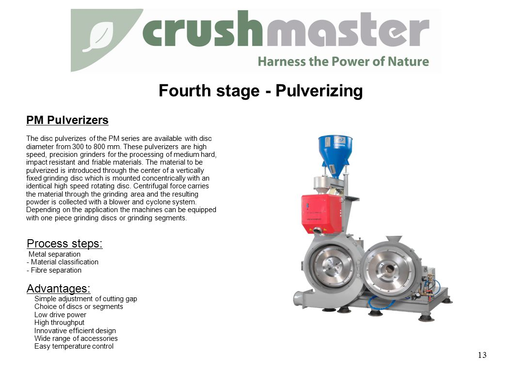 PM Pulverizers The disc pulverizes of the PM series are available with disc diameter from 300 to 800 mm.