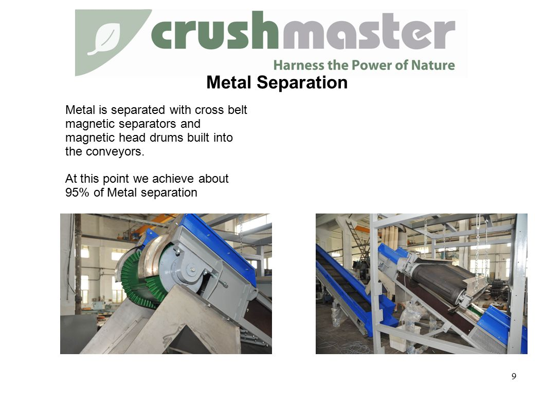 Metal is separated with cross belt magnetic separators and magnetic head drums built into the conveyors.