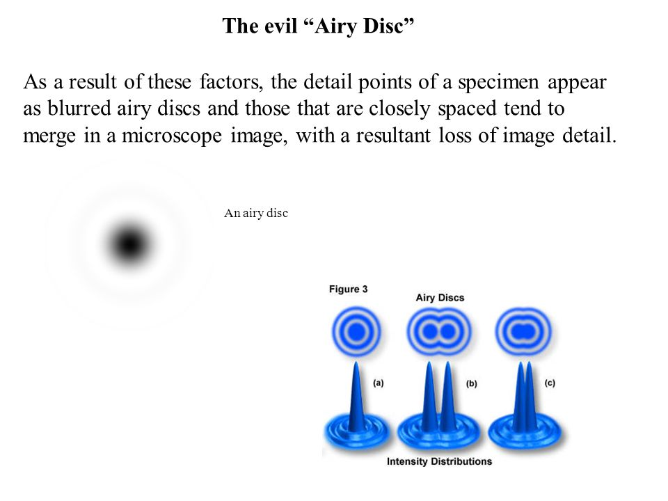 An airy disc As a result of these factors, the detail points of a specimen appear as blurred airy discs and those that are closely spaced tend to merge in a microscope image, with a resultant loss of image detail.