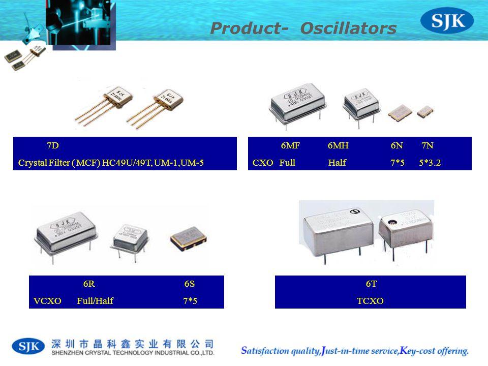 6T TCXO 6R 6S VCXO Full/Half 7*5 6MF 6MH 6N 7N CXO Full Half 7*5 5*3.2 Product- Oscillators 7D Crystal Filter ( MCF) HC49U/49T, UM-1,UM-5