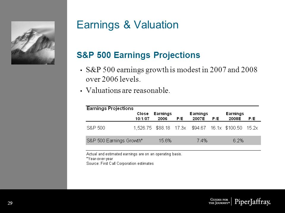 29 Earnings & Valuation S&P 500 Earnings Projections S&P 500 earnings growth is modest in 2007 and 2008 over 2006 levels.