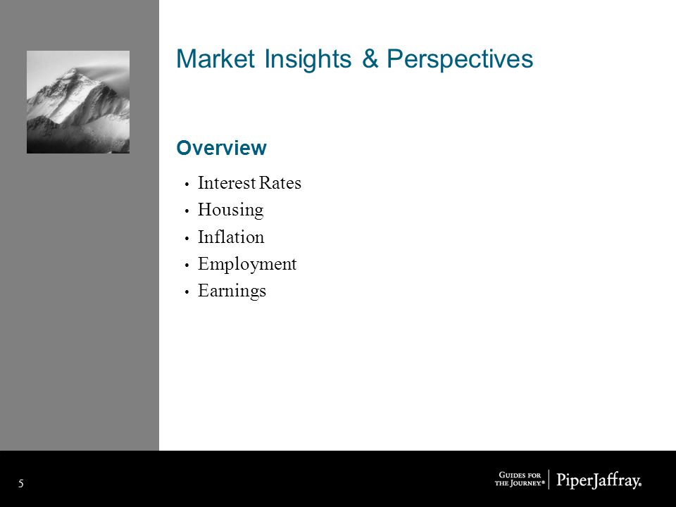 5 5 Market Insights & Perspectives Overview Interest Rates Housing Inflation Employment Earnings
