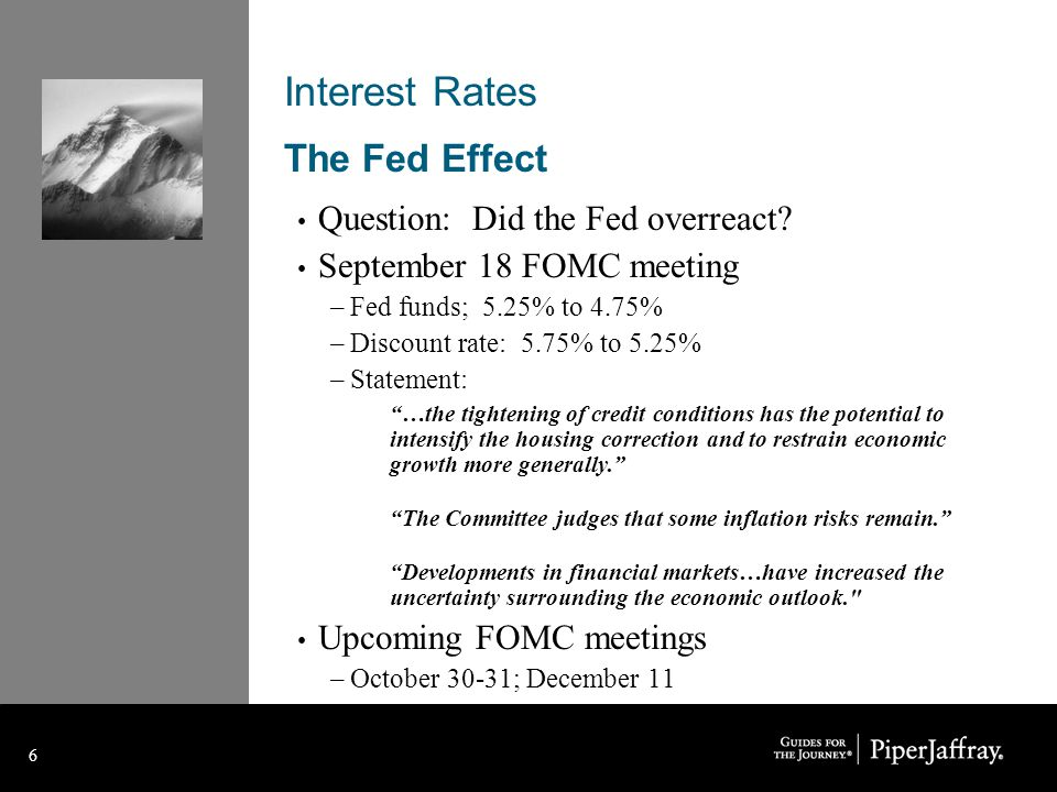 6 6 Interest Rates The Fed Effect Question: Did the Fed overreact.