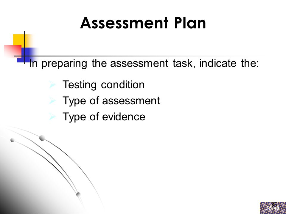 35 35/40 35 Assessment Plan  Testing condition  Type of assessment  Type of evidence In preparing the assessment task, indicate the: