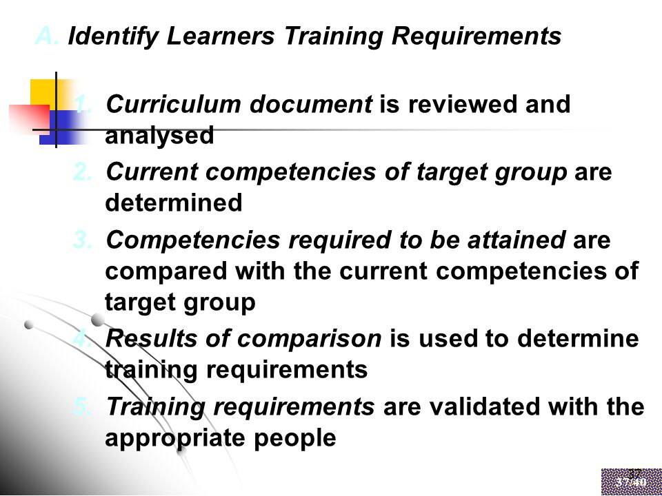 37 37/40 37 A.Identify Learners Training Requirements 1.Curriculum document is reviewed and analysed 2.Current competencies of target group are determined 3.Competencies required to be attained are compared with the current competencies of target group 4.Results of comparison is used to determine training requirements 5.Training requirements are validated with the appropriate people