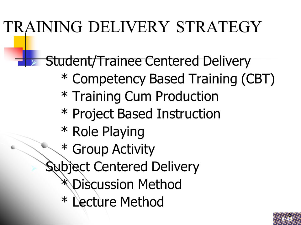 6 6/40 6 TRAINING DELIVERY STRATEGY  Student/Trainee Centered Delivery * Competency Based Training (CBT) * Training Cum Production * Project Based Instruction * Role Playing * Group Activity  Subject Centered Delivery * Discussion Method * Lecture Method