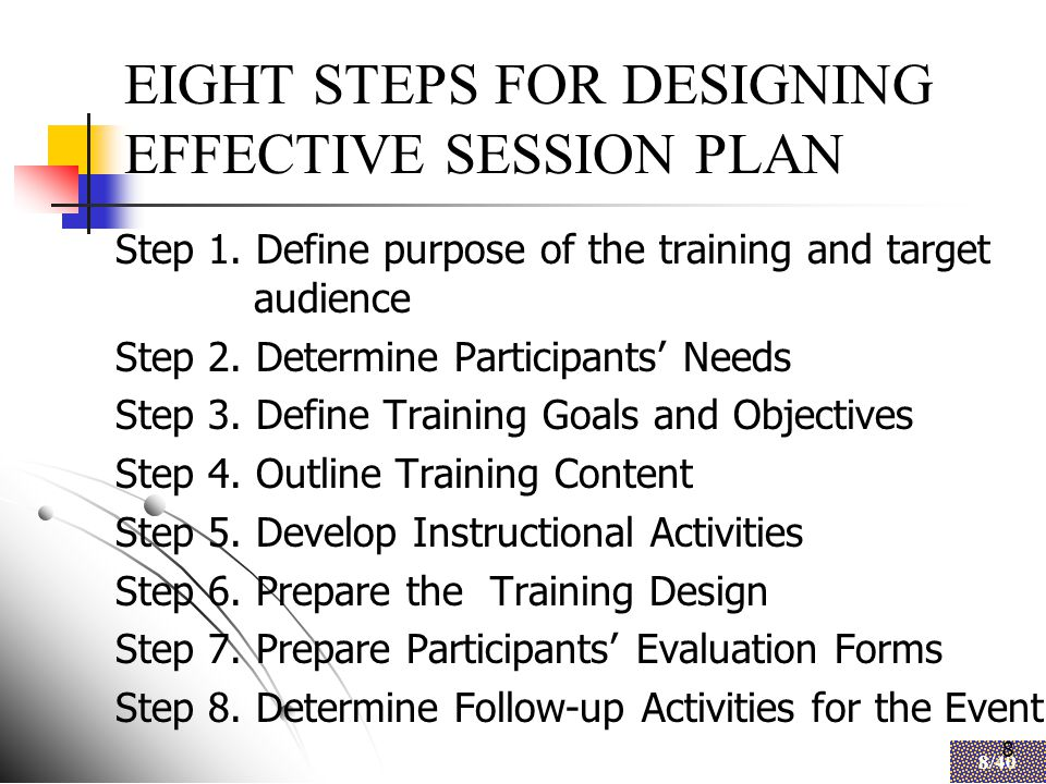 8 8/40 8 EIGHT STEPS FOR DESIGNING EFFECTIVE SESSION PLAN Step 1.
