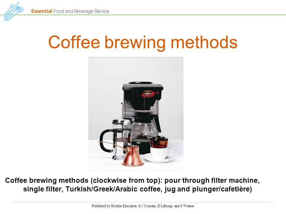 Published by Hodder Education  J Cousins, D Lillicrap and S Weekes Coffee brewing methods Coffee brewing methods (clockwise from top): pour through filter machine, single filter, Turkish/Greek/Arabic coffee, jug and plunger/cafetière)
