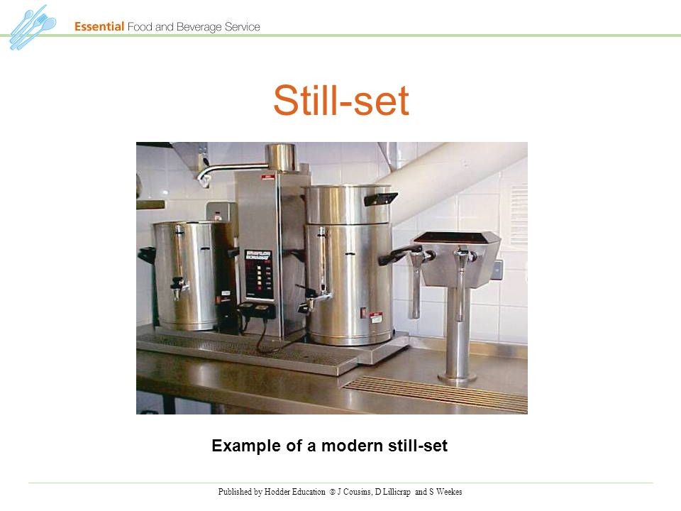 Published by Hodder Education  J Cousins, D Lillicrap and S Weekes Still-set Example of a modern still-set