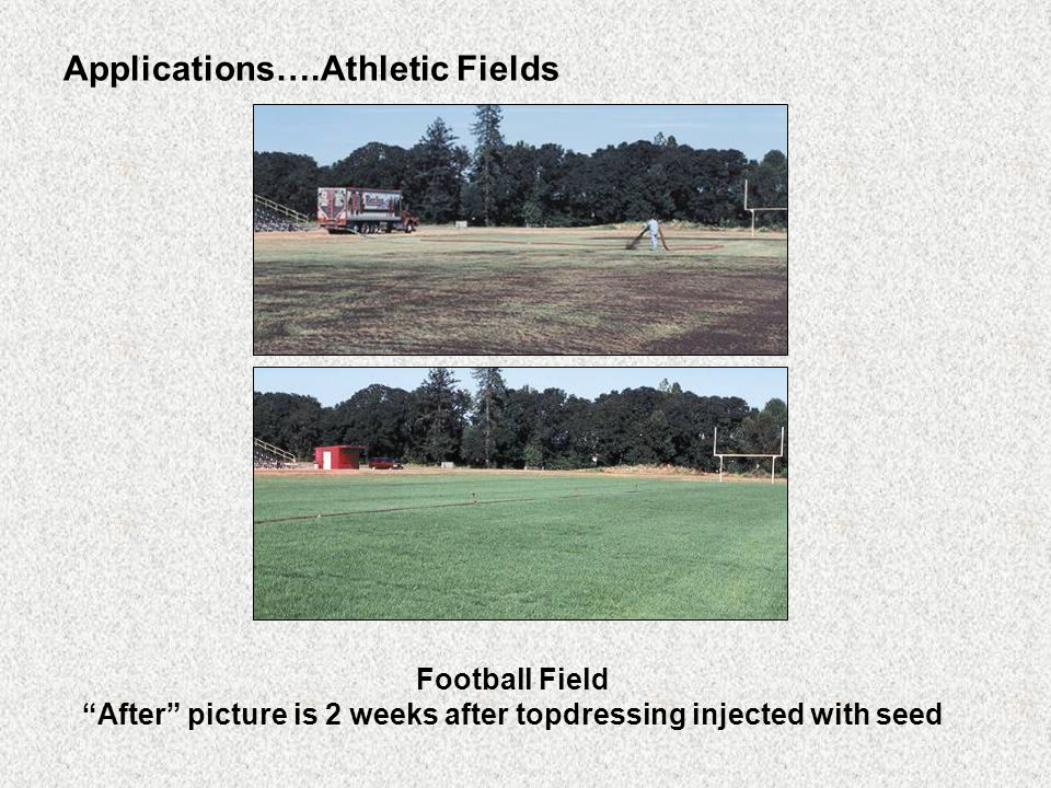 Applications….Athletic Fields Football Field After picture is 2 weeks after topdressing injected with seed