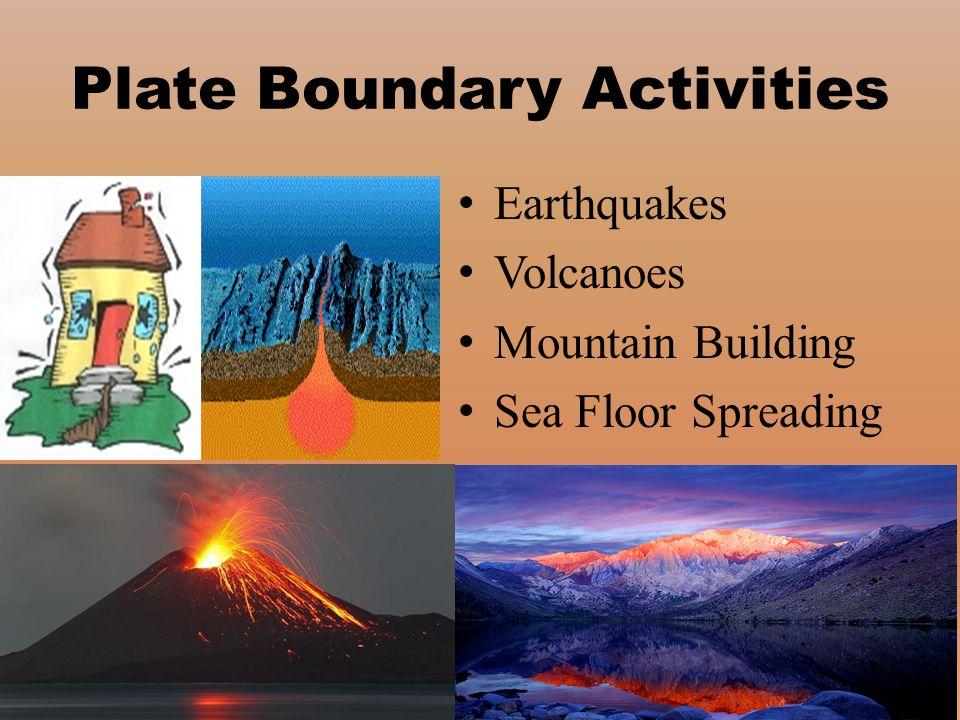 Plate Boundary Activities Earthquakes Volcanoes Mountain Building Sea Floor Spreading