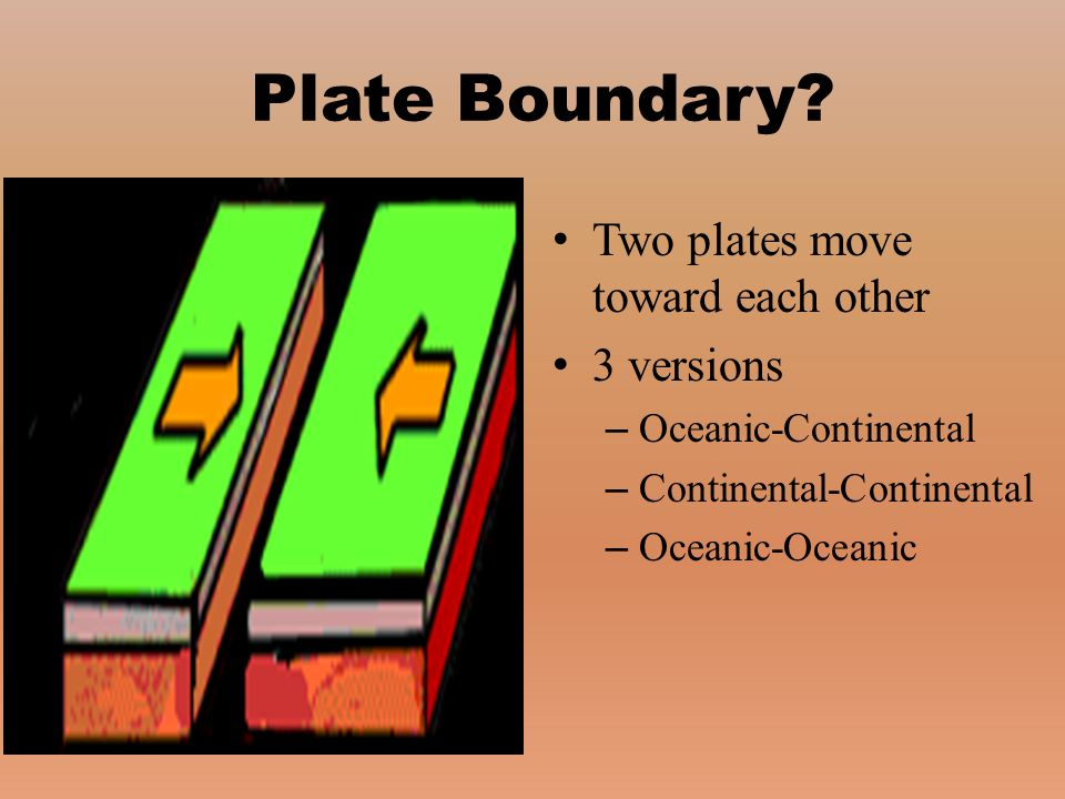 Plate Boundary? Two plates move toward each other 3 versions – Oceanic-Continental – Continental-Continental – Oceanic-Oceanic
