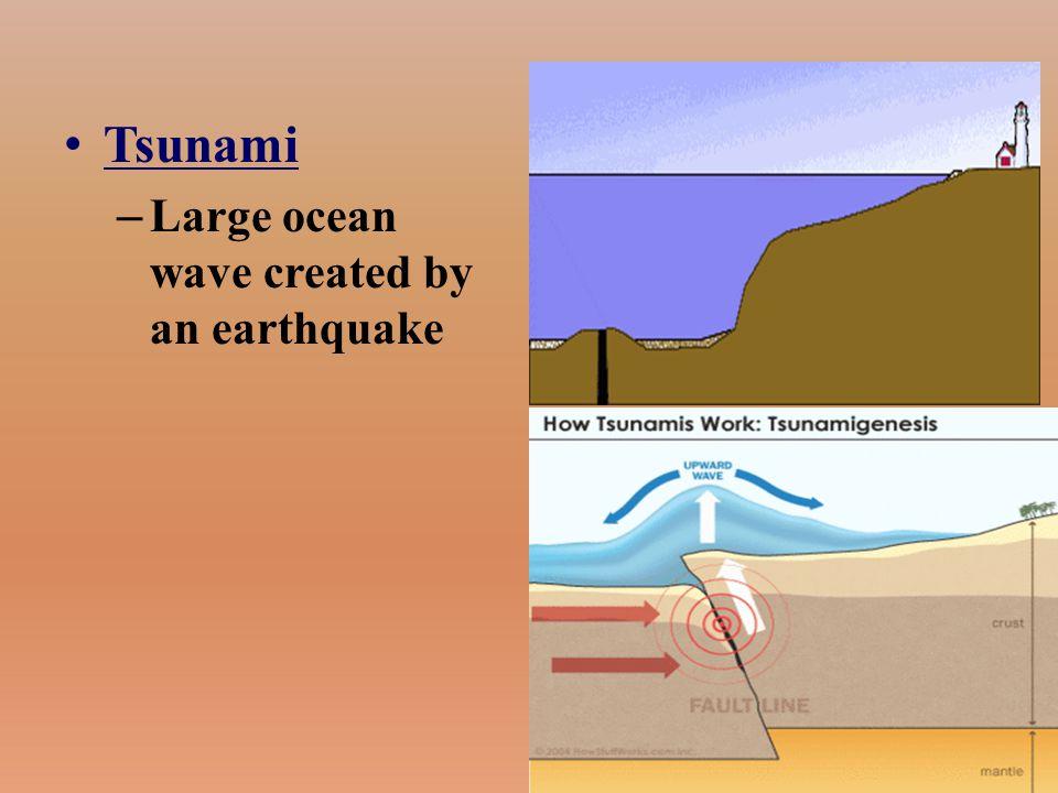 Tsunami – Large ocean wave created by an earthquake