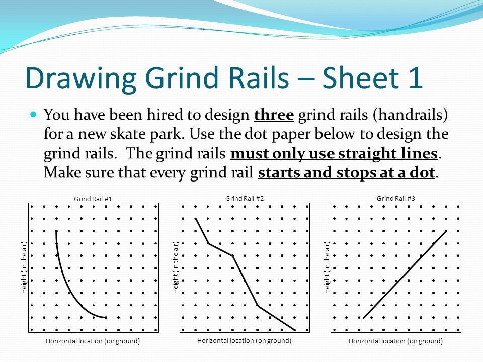Drawing Grind Rails – Sheet 1 You have been hired to design three grind rails (handrails) for a new skate park. Use the dot paper below to design the