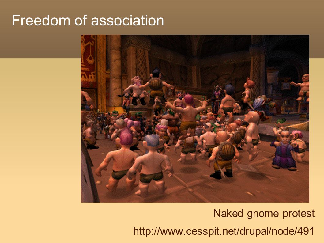 Freedom of association Naked gnome protest http://www.cesspit.net/drupal/node/491