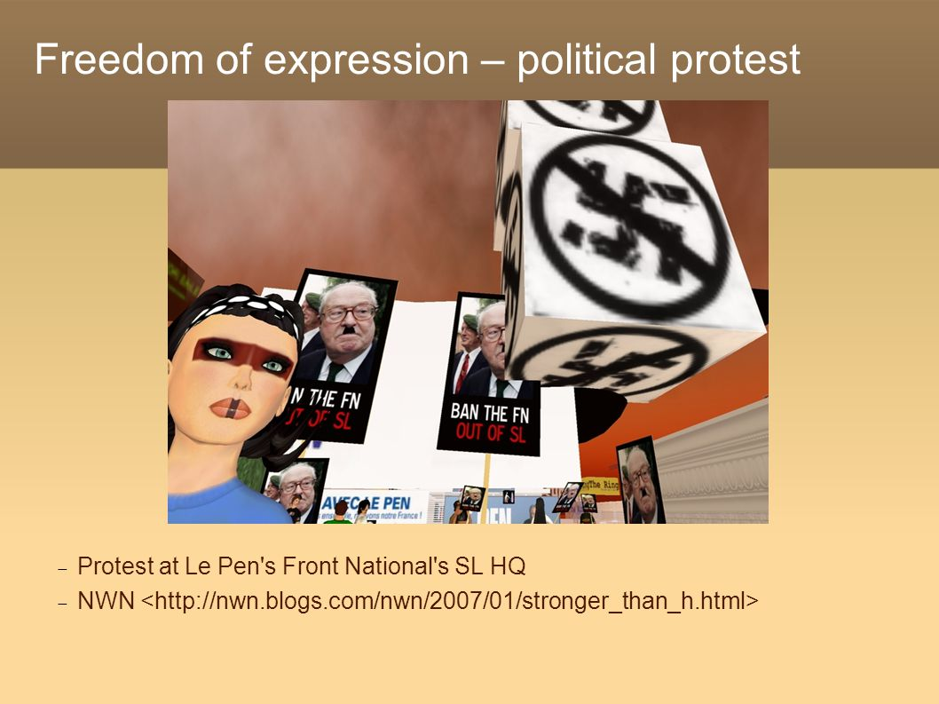 Freedom of expression – political protest  Protest at Le Pen s Front National s SL HQ  NWN