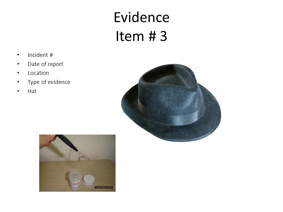 Evidence Item # 3 Incident # Date of report Location Type of evidence Hat – Size – Evidence inside of hat – Hair from suspect – Sent for DNA matches DNA found on cigarette butt 1B