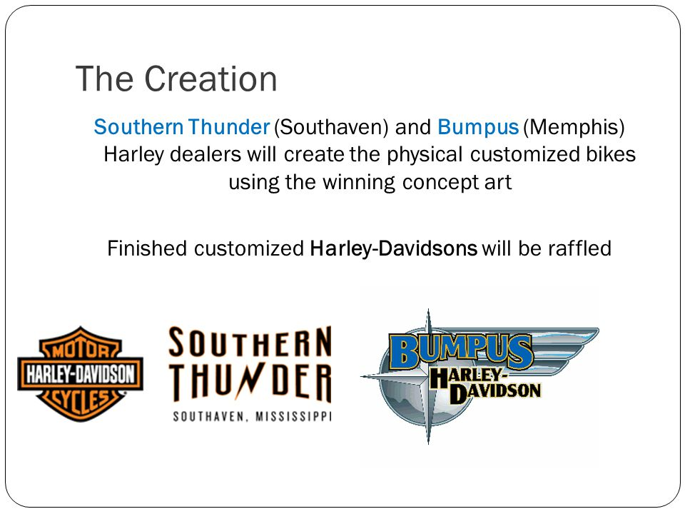 The Creation Southern Thunder (Southaven) and Bumpus (Memphis) Harley dealers will create the physical customized bikes using the winning concept art