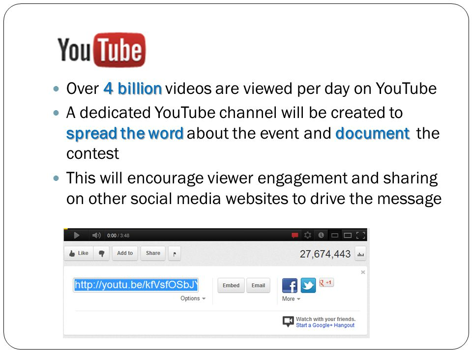 4 billion Over 4 billion videos are viewed per day on YouTube spread the word document A dedicated YouTube channel will be created to spread the word about the event and document the contest This will encourage viewer engagement and sharing on other social media websites to drive the message
